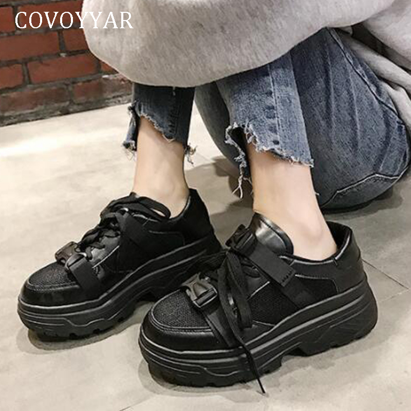 COVOYYAR 2019 Fashion Autumn Shoes Women White Black  Platform Chunky Sneakers Vulcanized Shoes Canvas Lady Shoes   WSN328