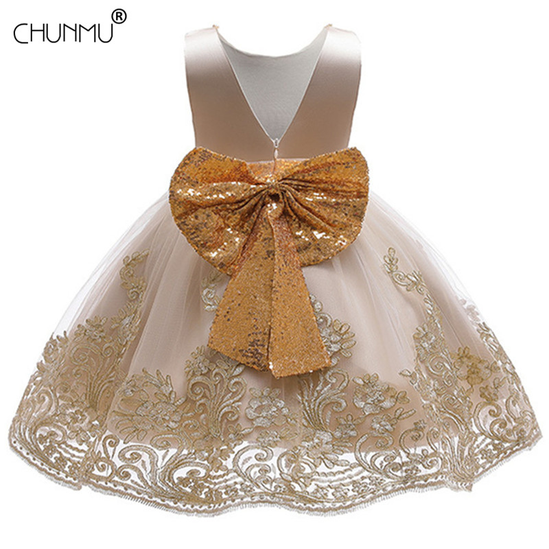 Lace Backless Sequin Big Bow Baby Girl Dress Princess Elegant Birthday Party Dress For Girl Opening Ceremony Dresses Kid Clothes
