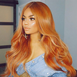 Natural Body Wave Orange Color 13x6 Lace Front Human Hair Wig Natural Long  26 Inch Brazilian Remy Hair Wigs With High Density