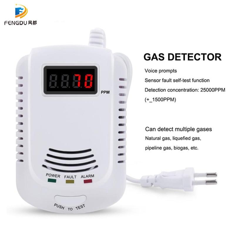 GAS DETECTOR Voice Warning Kitchen Alarm Kit Independent Plug In Combustible Natural LCD Display GAS LEAK SENSOR Alarm