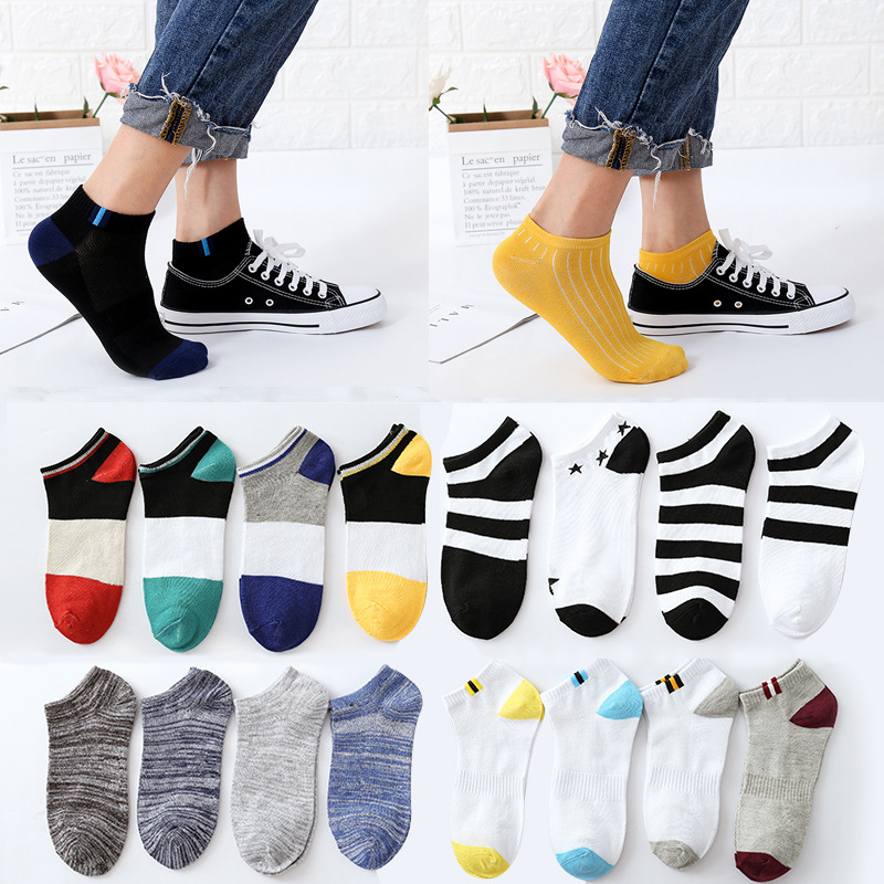5pair Spring Autumn Men Cotton Ankle Socks For Men's Business Casual Solid Color /striped Short Socks Male Sock Slippers Meias