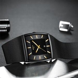 Image 2 - Mavi NIBOSI Chronograph kare saat özel tasarım spor erkek saatler su geçirmez yaratıcı izle adam kol saati Relogio Masculino