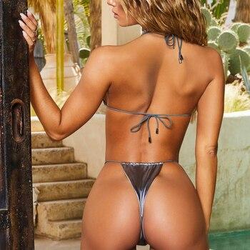 2019 Swimwear Womens Hot Sexy Women Bikini Set Rose Gold Swimsuit Bikini Push Up Swimwear Beach Bathing Suit S-L 6