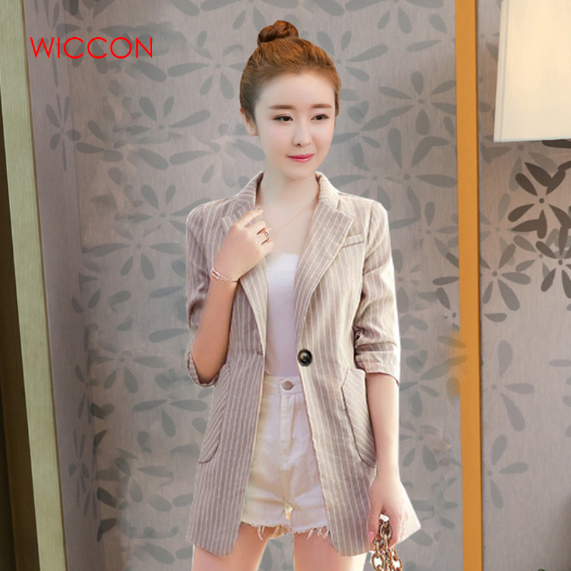 Autumn Women Slim Blazer Coat 2020 New Fashion Casual Jacket Three Quarter Sleeve One Button Suit Ladies Blazers Work Wear