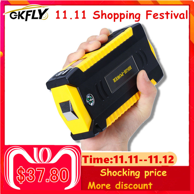 GKFLY High Capacity 16000mAh Starting Device Booster 12V Portable Car Jump Starter Cables Power Bank Car Starter Battery Charger