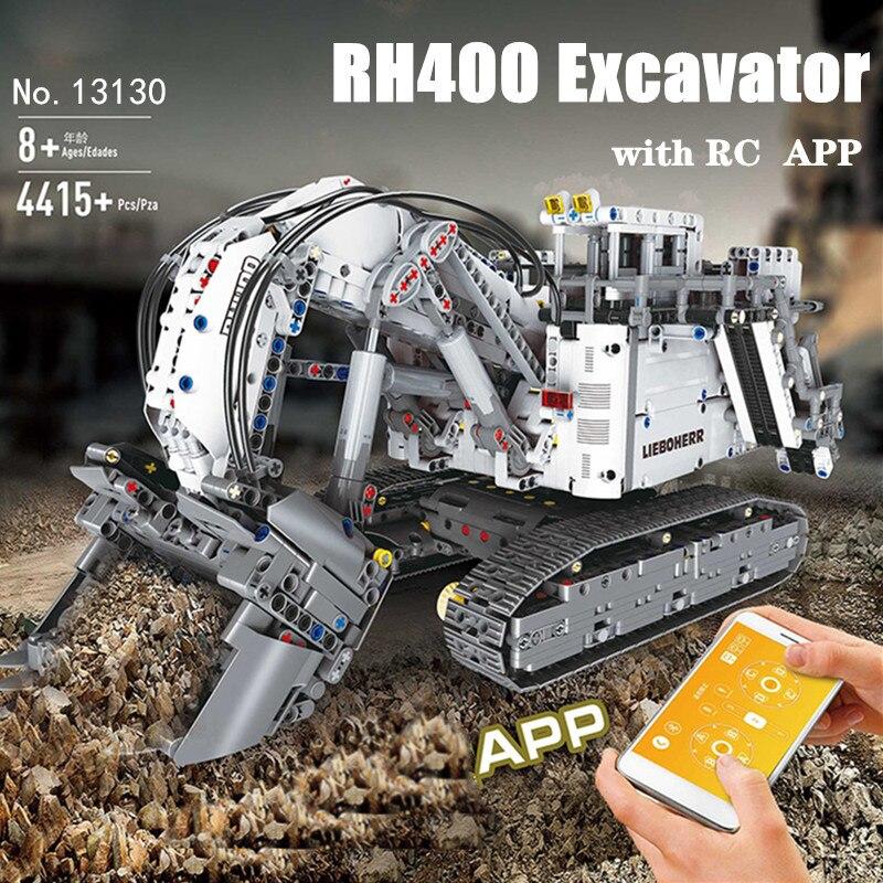 Technic Series Liebherrs Terex RH400 Excavator R9800 Motor RC APP Car Model Building Blocks Bricks Compatible Legoed 42100 TOYS