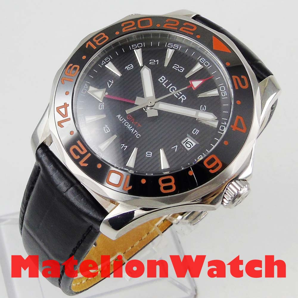 2019 New 41mm Bliger GMT Red Automatic watch men Luxury mechanical waterproof Black dial leather strap ceramic luminous 967