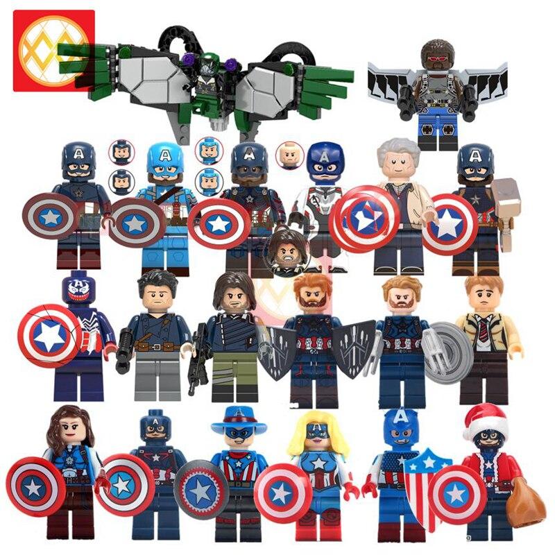 Captain America Civil War with Shield Hammer Falcon Sam Wilson Bucky Steve Rogers Avengers Super Heroes Building Blocks Kid Toys