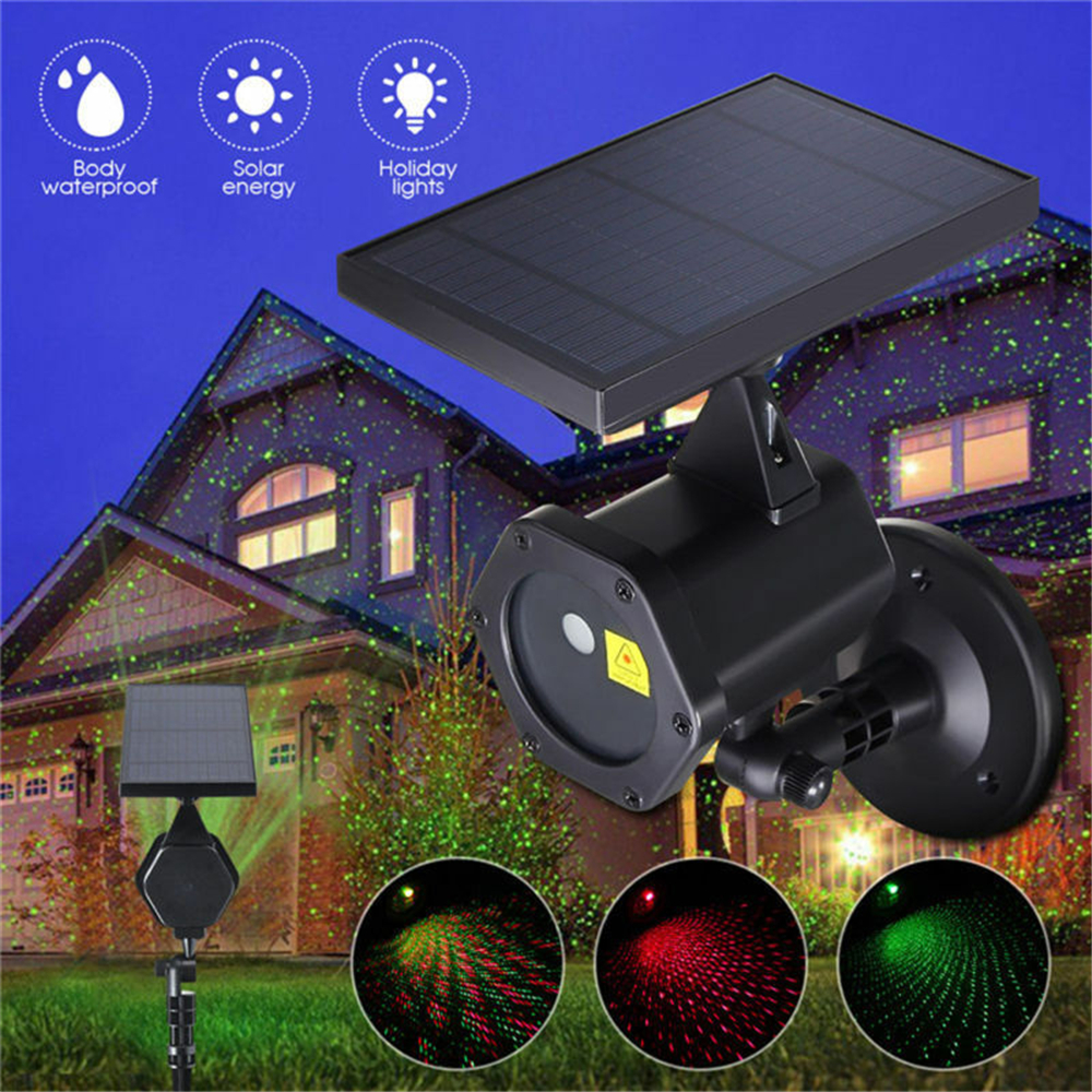 Outdoor Moving Full Sky Star Christmas Solar Laser Projector Lamp Green&Red LED Stage Light Outdoor Landscape Lawn Garden Light