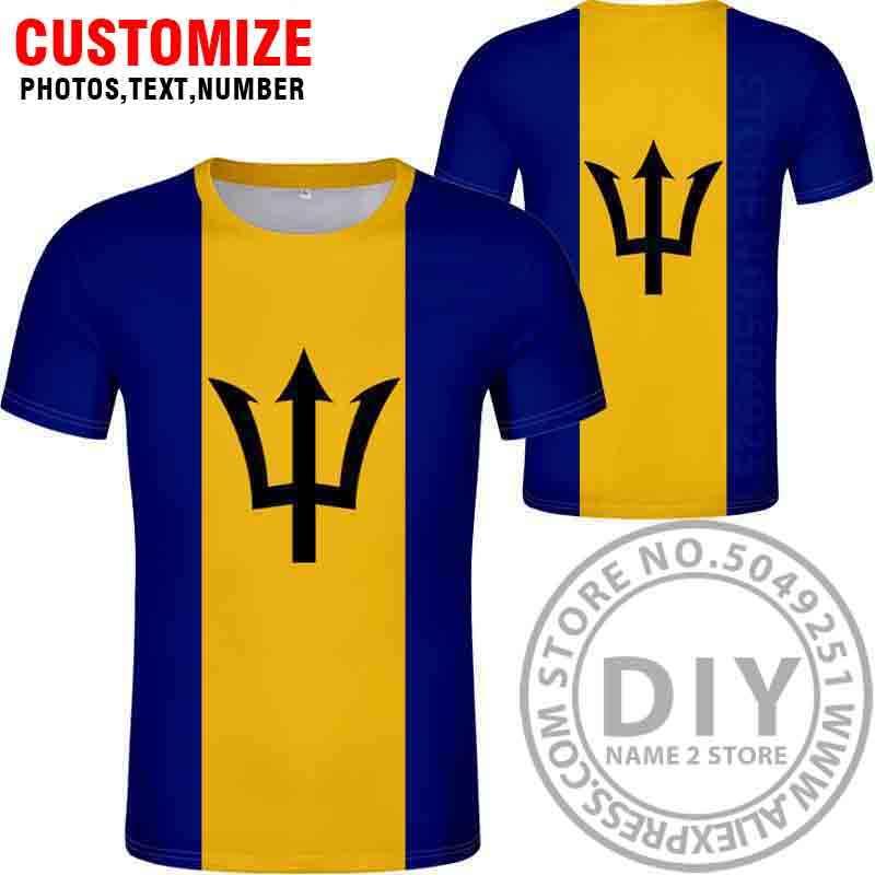 BARBADOS футболка с бесплатной печатью на заказ с номером черного цвета для фото серая Гибкая футболка колледжа для самостоятельной сборки
