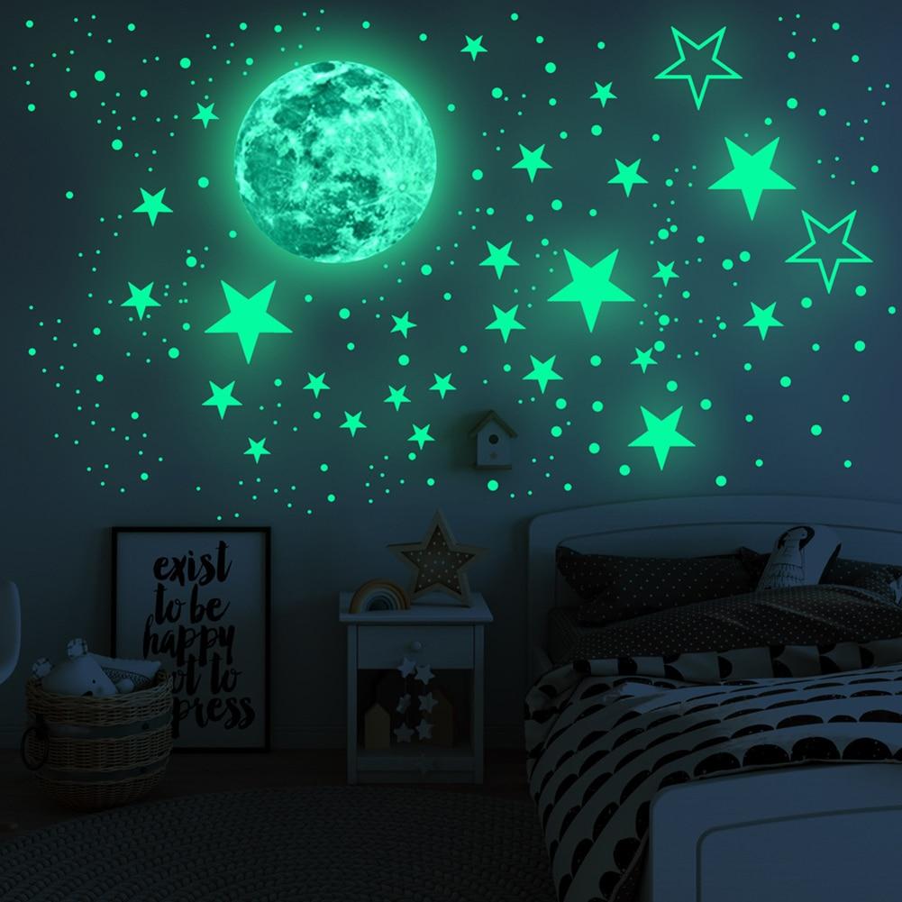 435 шт./компл. световой 3D с изображением луны и звезд, в горошек, настенные Стикеры для детской комнаты, Спальня потолочное украшение для дома ...