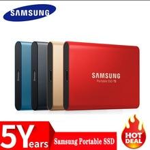 Samsung T5 แบบพกพา SSD 250GB 500GB 1TB 2TB USB3.1 ไดรฟ์ Solid State ภายนอก USB 3.1 Gen2 และเข้ากันได้กับ PC