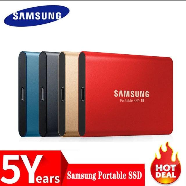 サムスン T5 ポータブル ssd 250 ギガバイト 500 ギガバイト 1 テラバイト 2 テラバイト USB3.1 外部ソリッドステートドライブ usb 3.1 Gen2 との下位互換性のための pc