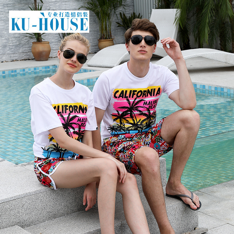 Couples Holiday Beach Shorts Shorts Men Summer Loose-Fit Quick-Dry Short Casual Pants Female Sports Flower Large Trunks Fashion