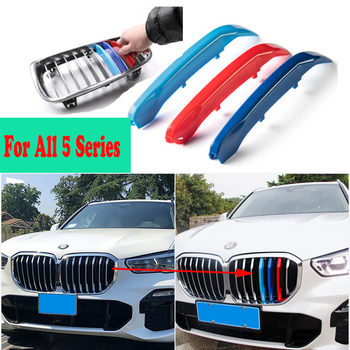 3Pcs New For BMW 5 Series 5 F10 F11 F07 E39 E60 E61 E34 G30 G31 G38 1995-2022 Car Racing Grille Strip Trim Clip Accessories M image