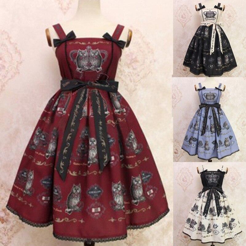 Women Lolita Dress Vintage Royal Court Formal Party Dress Bow-Knot Print Sleeveless Evening Club Elegant A Line Swing Dresses