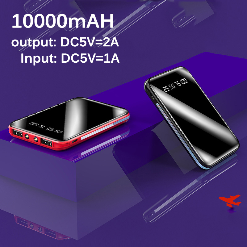 10000mAh Mini Power Bank For Xiaomi Phone <font><b>10000</b></font> <font><b>mah</b></font> Portable Charger LED Mirror Back Power Bank External <font><b>Battery</b></font> <font><b>Pack</b></font> Powerbank image