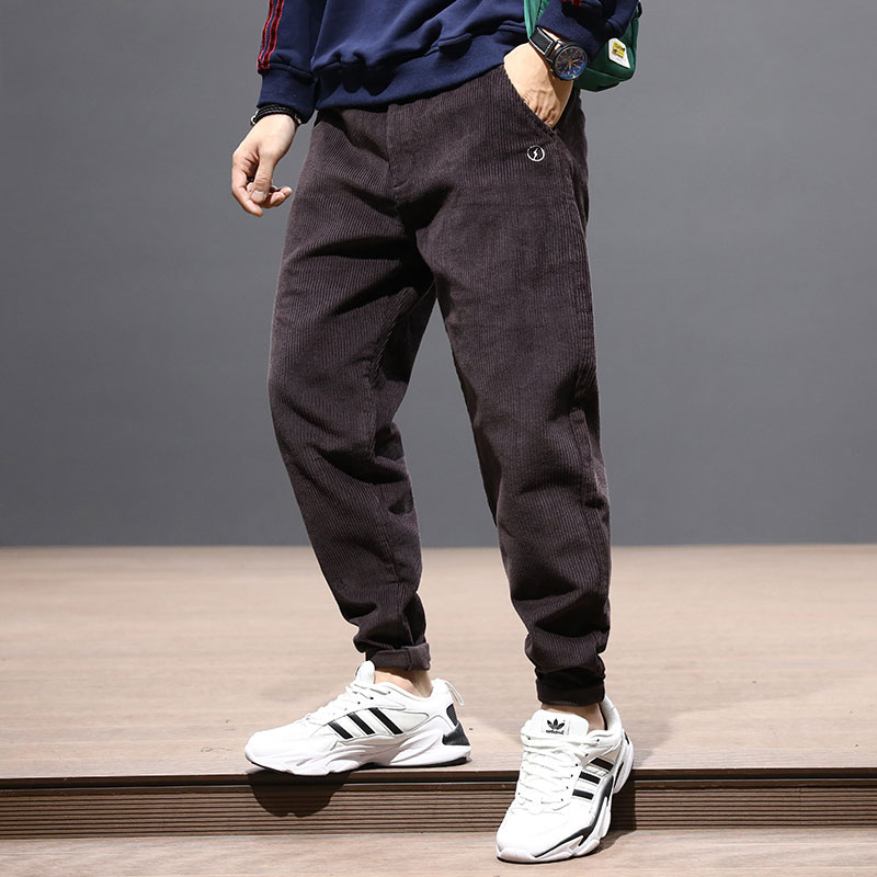 Fashion Streetwear Men Jeans Loose Fit Black Gray Red Casual Corduroy Cargo Pants Harem Trousers Japanese Hip Hop Pants Men