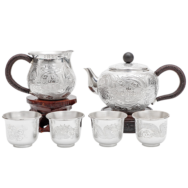 Silver Tea Set Tea Set Fair Cup Tea Set Tea Set Tea Leak Sterling Silver 999 Kung Fu Tea Set Gift