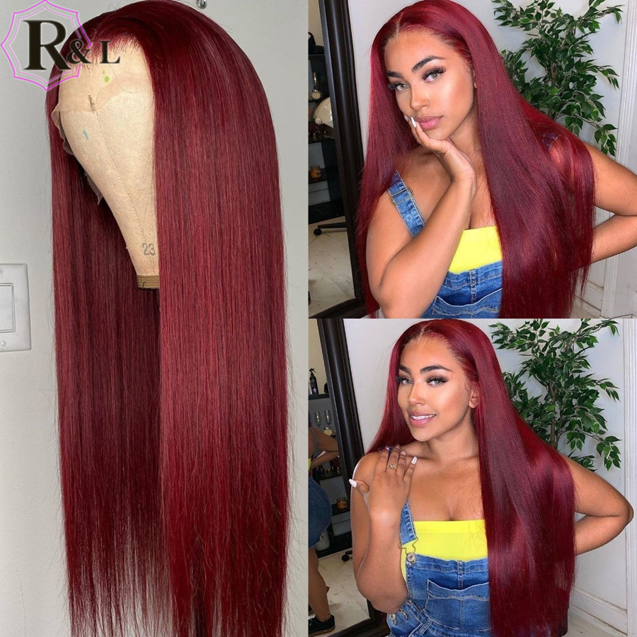 RULINDA Highlight 99j Lace Front Human Hair Wigs Straight Ombre Color Brazilian Remy Hair Lace Wigs Pre-Plucked Middle Part