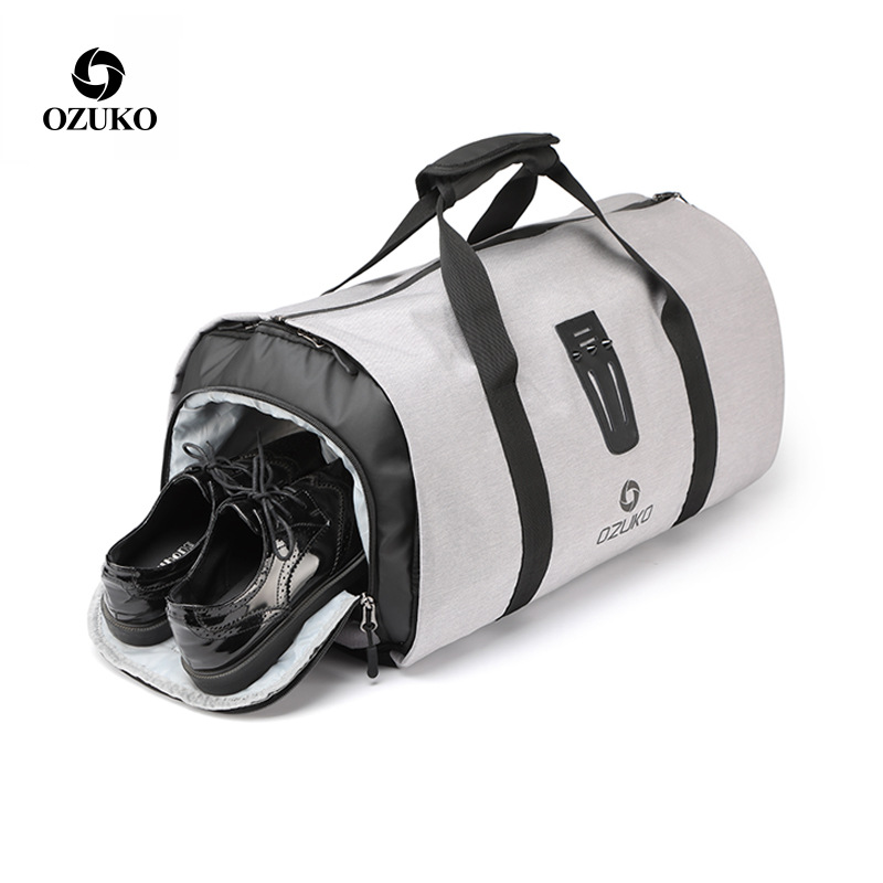 OZUKO Multifunction Men Suit Travel Bag Backpack Large Capacity Duffle Bag Suit Storage Trip Luggage Bags With Shoe Pouch