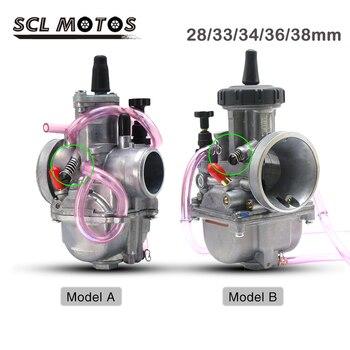 SCL MOTOS PWK 28mm 33mm 35mm 36mm 38mm Carburador de la motocicleta Carburador Park Carb para 2T 4T motor 100cc-350cc Moto de carreras