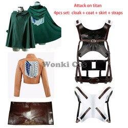 Anime Attack on Titan Mikasa Eren Jager Levi Ackerman Rivaille Cosplay Costume Coat Cloak Straps Full Set Shingeki no Kyojin
