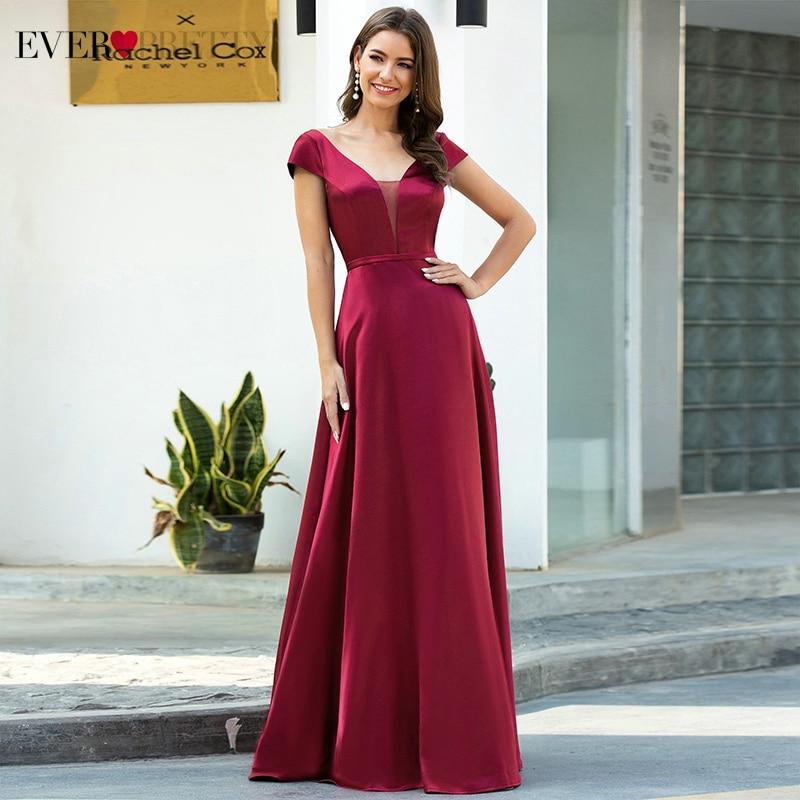 Burgundy Satin Prom Dresses Ever Pretty Double V-Neck Cap Sleeve A-Line Draped Elegant Formal Dresses For Party Vestidos 2020