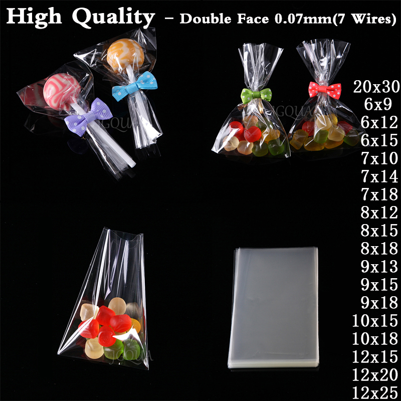 Transparent Small Gift Bag Candy Cookie Plastic Packaging Bags Wedding Party Bread Cake Package Lollipop Packing Cellophane Bag