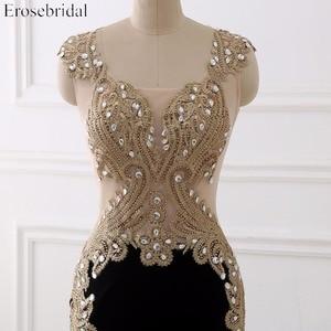 Image 3 - Erosebridal Black Mermaid Evening Dress Long Gold Lace Long Sleeve Evening Dress with Train 8 Colors