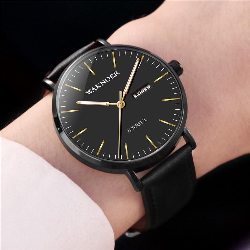 Waknoer luminoso masculino automático relógios de esportes