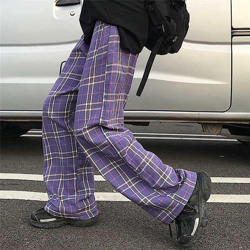 NiceMix Harajuku Plaid Elastic High Waist Pants 2020 Autumn Women Men Streetwear Hip Hop Straight Trousers Casual Bottoms Britis