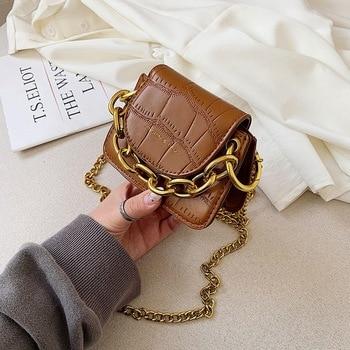 цена на Mini stone pattern new portable small bag 2020 new shoulder female bag fashion diagonal chain bag women leather handbags