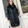 2019 new full mink fur coat long hooded Slim Mink Fur Coat