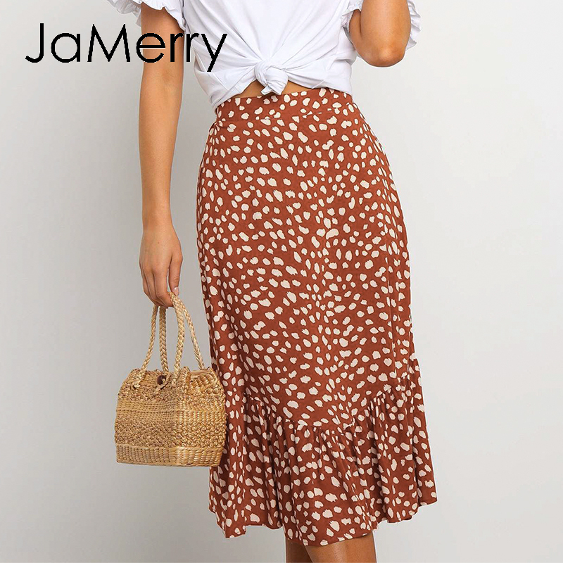 JaMerry Sexy Leopard Print Midi Skirt Women Ruffles High Waist Female A-line Skirt Casual Spring Summer Ladies Skirts Bottoms