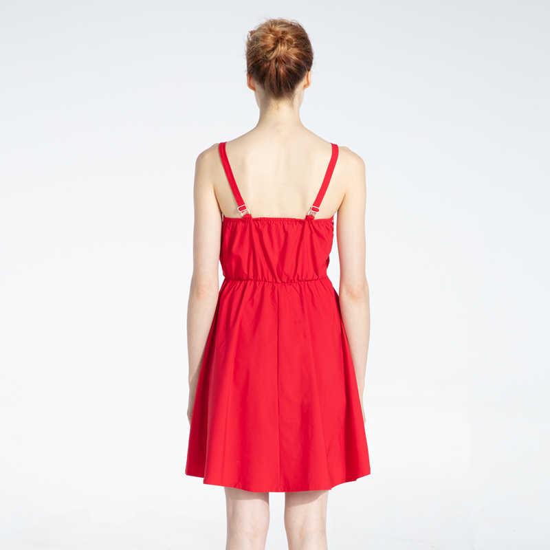 Женское нарядное платье Marwin, однотонное красное платье на бретелях, до колена, платье для отдыха, лето 2019
