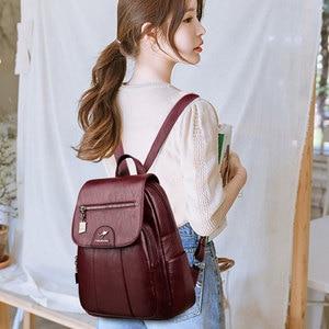 Image 5 - 2020 женские кожаные рюкзаки, высокое качество, Женский винтажный рюкзак для девочек, школьная сумка, дорожная сумка, женский рюкзак