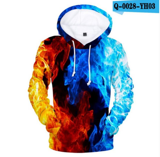 Hot Space Galaxy Yellow And Blue Hoodies 3D Fire Autumn Men Sweatshirt Women Hoody Outwear Winter Handsome Hooded Male Pullovers