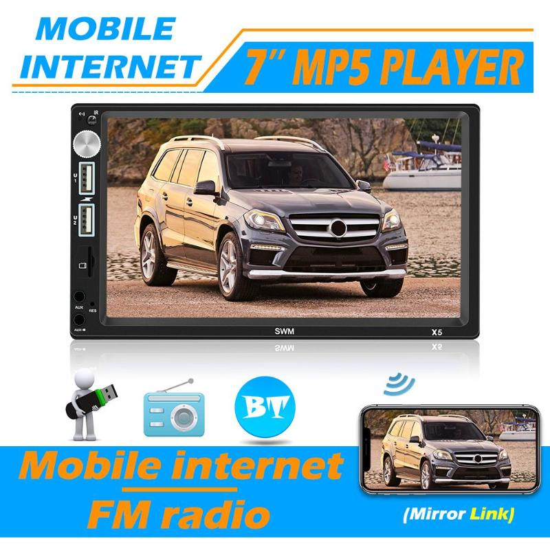 SWM X5 2 DIN 7 Inch Bluetooth AUX RCA Car Stereo MP4 MP5 Player Video Player FM Radio Receiver Head Unit Car Multimedia Player