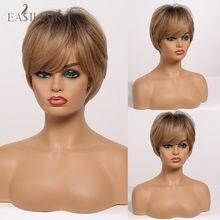 EASIHAIR – perruque synthétique lisse courte avec frange latérale pour femmes afro-américaines, coupe Pixie, brun clair ombré avec racines foncées