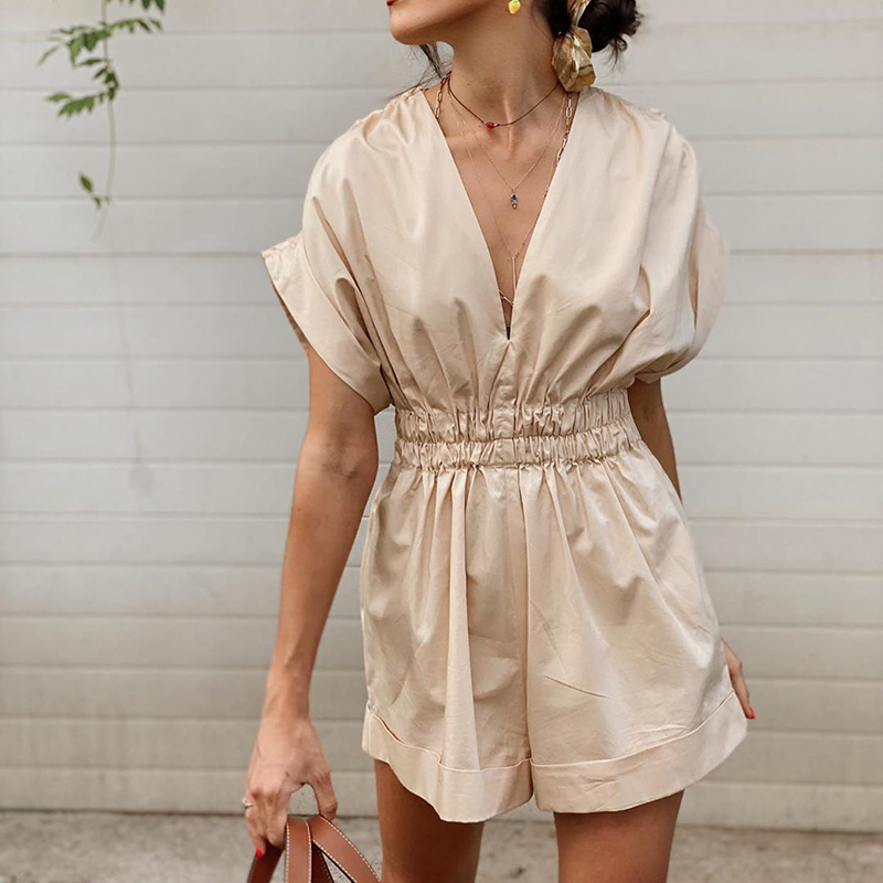 Merodi 2020 women casual summer za beige solid loose playsuits chic lady fashion pleated elastic high waist short jumpsuits chic