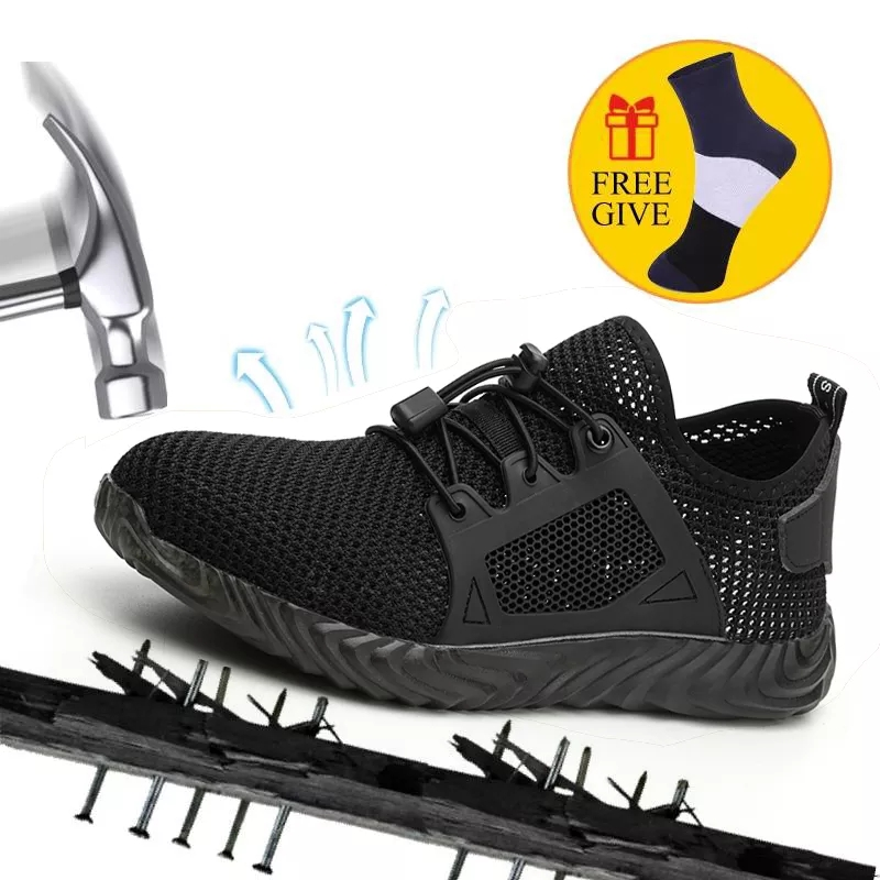 Dropshipping Men Summer Safety Shoes Steel Toe Casual Shoes Puncture Proof Light Weight Work Safety Sneakers For Men