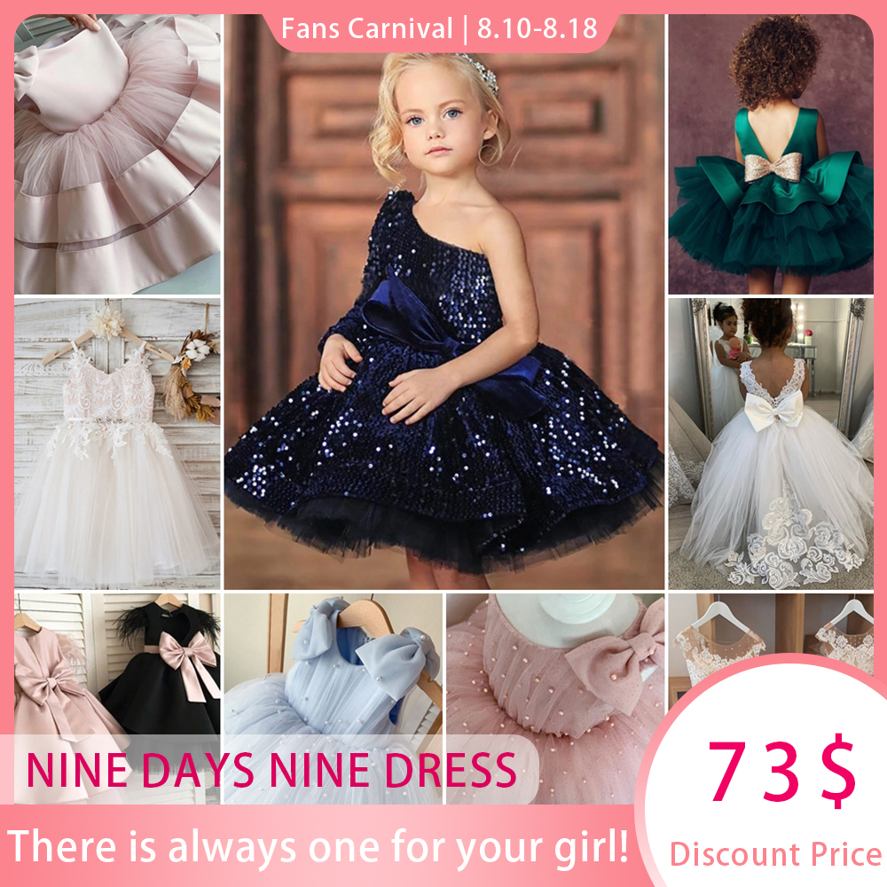 Kids Glitter Sequin Lace Flower Girl Dresses Puffy Royal Blue Big Bow Communion Dresses One Shoulder Kids Baby Prom Gowns
