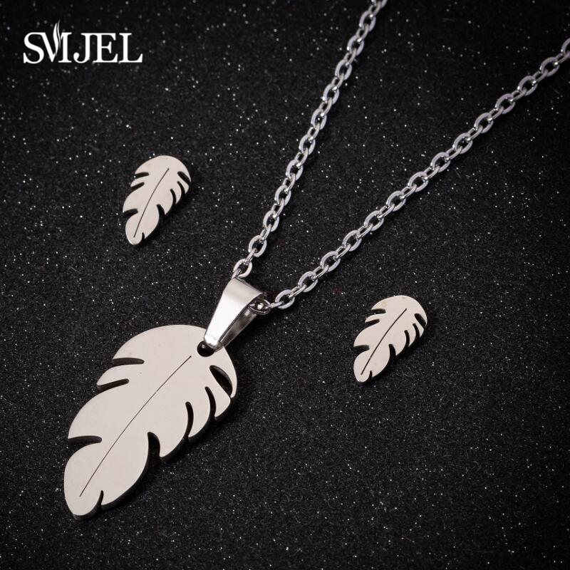 SMJEL Stainless Steel Feather Necklaces for Women Gold Jewellery Set Cute Mickey Cat Earrings Choker Necklaces Christmas bijoux