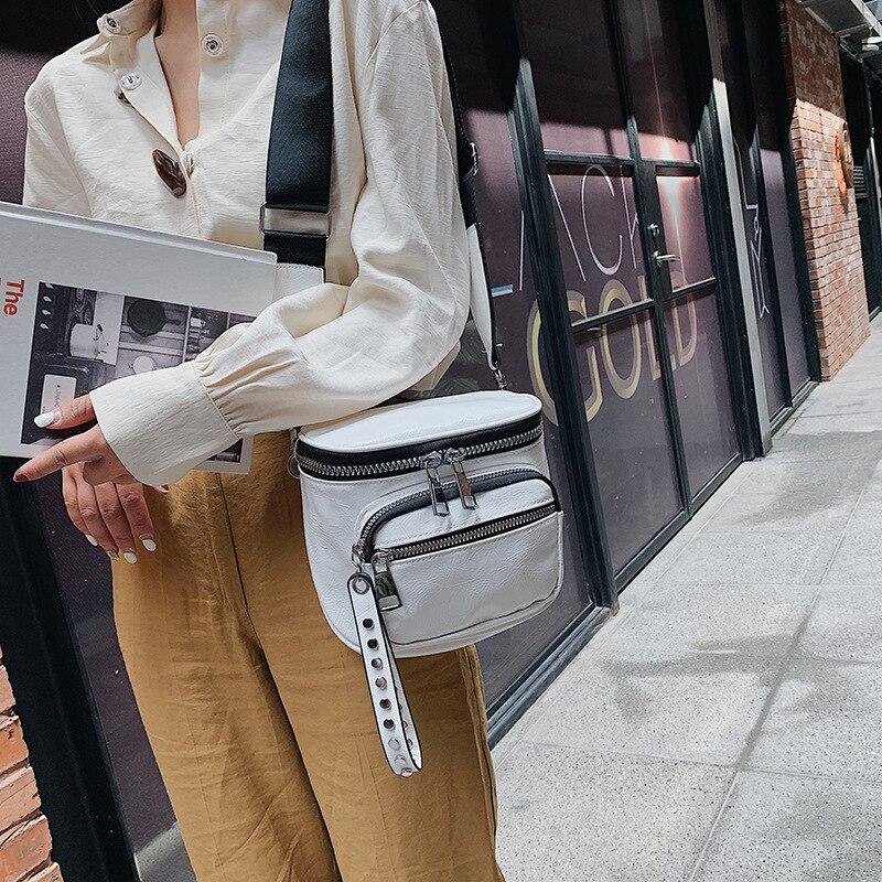 Young Lady Small Bag 2019 New Korean Fashion Joker Color Single Shoulder Cross Body Bag Wide Shoulder Strap Bucket Bag