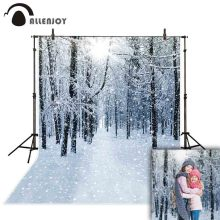 Allenjoy photographic background snow winter forest bokeh new year backdrop photozone photophone studio professional camera