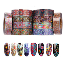 цена на 10Roll Nail Decal Mandala Water Nail Art Stickers 4CM*500M Nail Decor Supplies Simple Manicure Nail Art Watermark Tips Wholesale