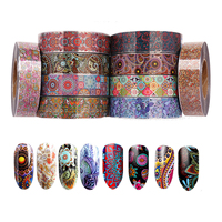 10Roll Nail Decal Mandala Water Nail Art Stickers 4CM*500M Nail Decor Supplies Simple Manicure Nail Art Watermark Tips Wholesale