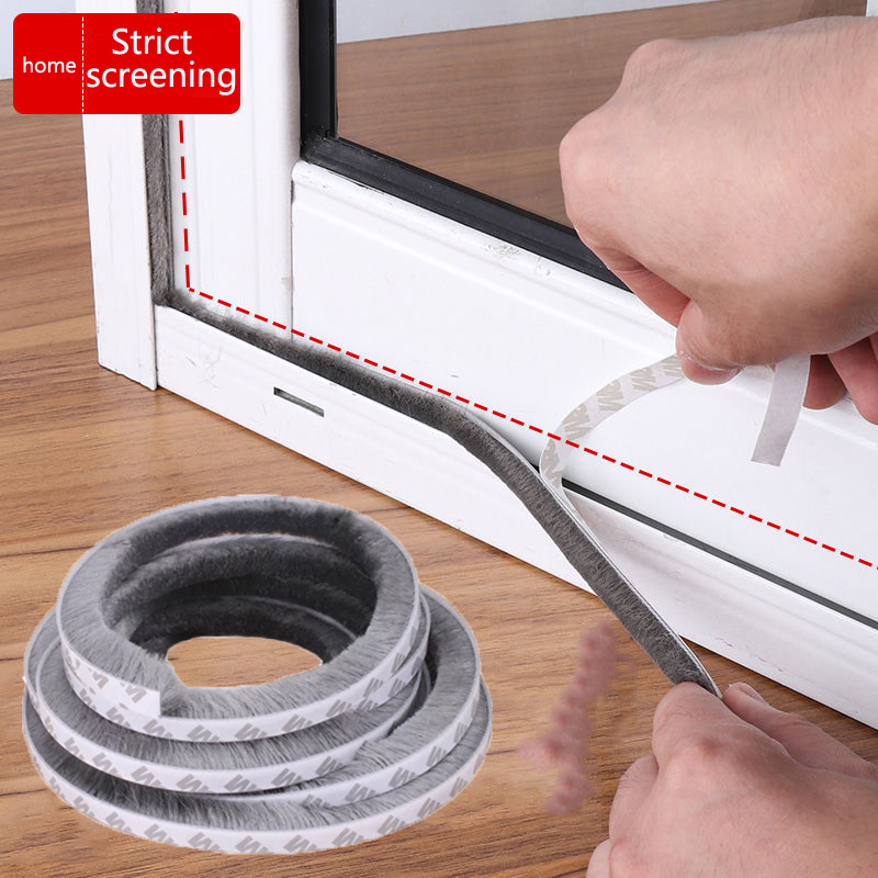 10meters Self-adhesive Sealing Wind-proof Brush Strip For Home Door Window Sound Insulation Strip Gasket Warm Insulation Pad