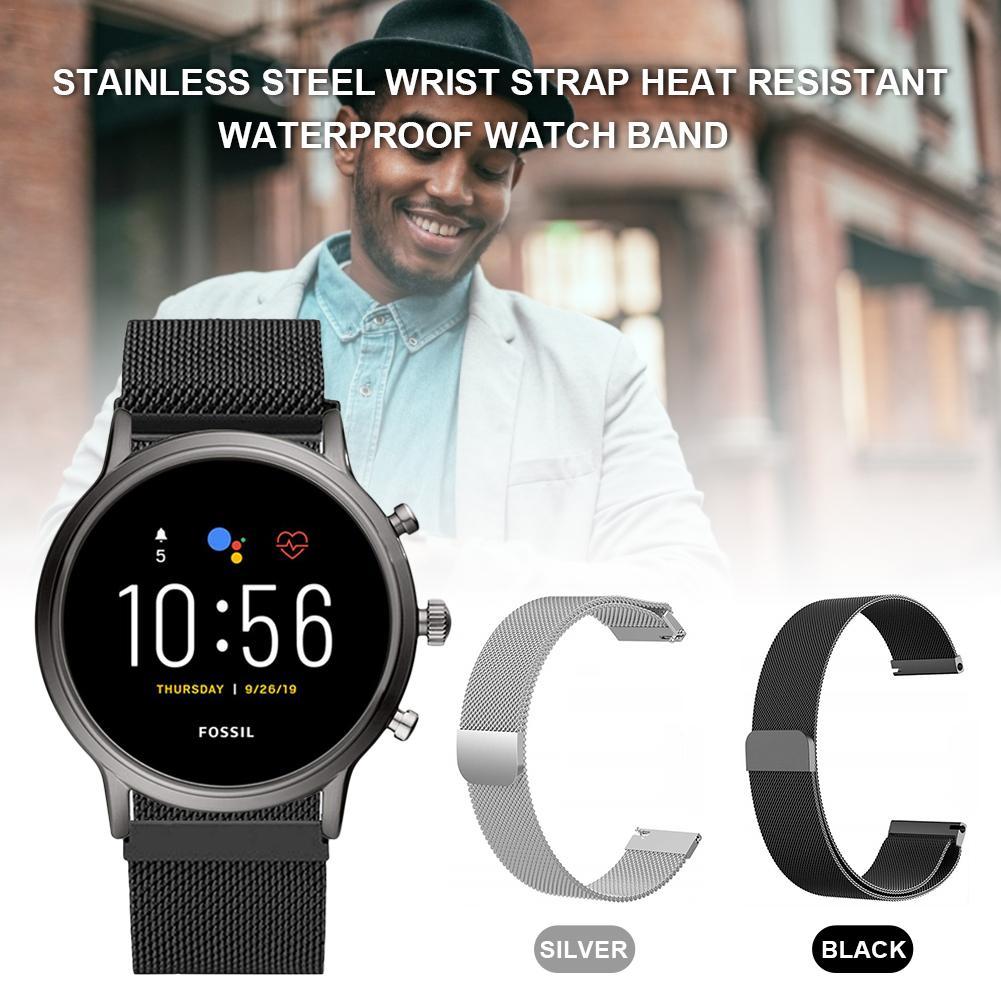 Stainless Steel Wrist Strap Heat Resistant Waterproof Watch Band For Fossil Mens Gen 5 Carlyle Womens Gen 5 Julianna